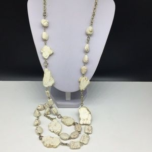 Chico's White Stone Beaded Statement Necklace